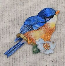 Iron On Embroidered Applique Patch Bluebird Blue Bird Orange Breast White Flower