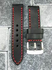 24mm NEW COW LEATHER Black STRAP Red Stitch Watch X1 BAND Super Avenger 24