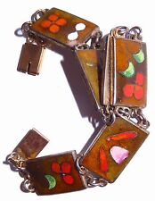 Robert Kuo Enamel Cloisonne Bracelet 6 Floral Link Panels Chain Taiwan Signed