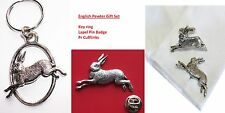 HARE (Rabbit) Cufflinks, Key Ring & Lapel Pin Badge in English Pewter Gift Set