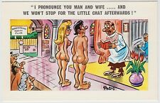 SAUCY POSTCARD - seaside comic, naked couple woman boobs bum wedding PEDRO #185