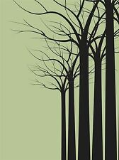 ART PRINT POSTER PAINTING ABSTRACT ARBOREAL TREE FOREST SILHOUETTES LFMP0877