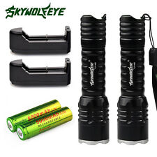 2x6000Lumen Rechargeable Tactical CREE Q5 LED Flashlight +18650 Battery&Charger