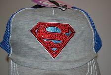 SuperGirl Juniors Hat Super Man Logo Embellished with Gems Bling DC COMICS