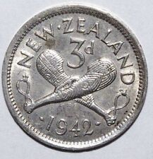 New Zealand 3 Pence, 1942 Silver High Grade Lusterous Coin - Combine Shipment