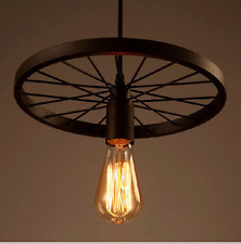 Industrial Wheel Pendant Ceiling Lamp Restoration Chandelier Rusty Indoors Light