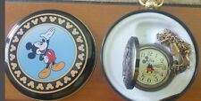 Vintage Disney Mickey Mouse Railroad Pocket Watch With Chain New Old Stock