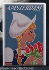 Amsterdam Travel Poster - Fridge / Locker Magnet. The Netherlands Tulips