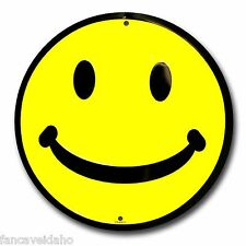 "Yellow Happy Smiley Face 12"" Embossed Metal Circle Sign - CS60013"