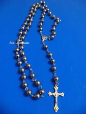 Religious metal Rosary Beads Necklace Cross Crystal dark grey Silver Balls NEW