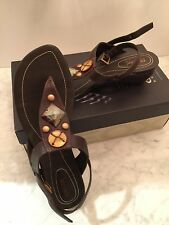 GEOX Shoes Women Brown Leather Sandals With Stone Embellishment Size 40/US 10