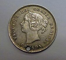 {BJSTAMPS}  1886 CANADA 5 Cents Large 6 VF    .925 .0346 ASW Holed