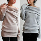 Sexy Women Cowl Neck Knitwear Jumper Cardigan Sweater Hoody Off Shoulder Outwear