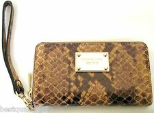 NEW MICHAEL KORS ELECTRONIC SAND BROWN PYTHON LEATHER PHONE CASE,WALLET,WRISTLET