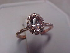 *ESTATE*MORGANITE & PAVE SET DIAMOND HALO RING 10K ROSE GOLD sz6.5  **BUY NOW**
