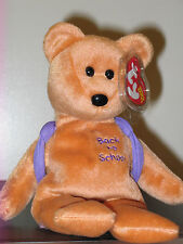 Ty Beanie Baby ~ BOOKS the Purple Backpack Bear ~ MINT with MINT TAGS