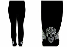 Plus Size Leggings Embellished Crystal & Silver Rhinestone Biker Skull Wings