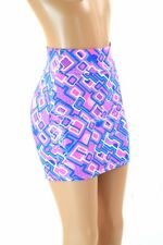 MEDIUM UV Glow Neon Half Pipe Print Bodycon Mini Skirt Clubwear NWT Coquetry