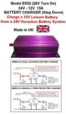 HORSEBOX 24V to 12V BATTERY TO BATTERY CHARGER 15A /180W Model E932 26V Turn On