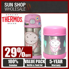 THERMOS Funtainer S/S Vacuum Insulated 355ml Bottle & 290ml Food Jar Pink Owl!