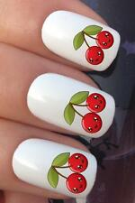 WATER NAIL TRANSFERS TWIN KAWAII CHERRY CHERRIES WATER DECALS STICKERS *668