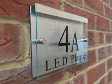 MODERN HOUSE SIGN PLAQUE DOOR NUMBER STREET GLASS ACRYLIC ALUMINIUM LED HOLDER