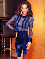New elegant royal blue velvet & lace mini dress club party wear size M UK 10