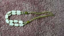 "Shell and beads necklace, light greens and white, 22"" around, claw clasp, new"