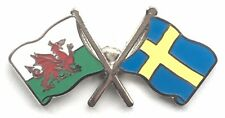 Wales & Sweden Flags Friendship Courtesy Enamel Lapel Pin Badge