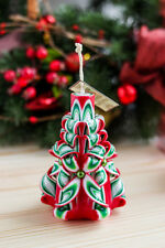 """Holiday Candle Hand carved Candles """"Red"""" Christmas Decorative Gift for Easter"""