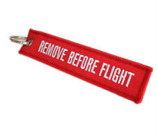 Remove Before Flight Luggage Tag Zipper Pull Double-sided Embroidery Keychain