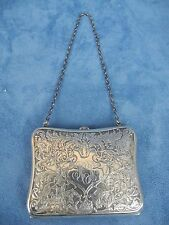 Antique Sterling Silver I Blackinton Engraved Purse / Wallet with Chain