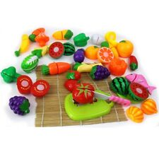 Kids Pretend Play Colorful Fruit Vegetables Kitchen Food Cutting Preschool Toys
