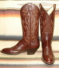 Mens Vintage Panhandle Slim Brown Leather Handcrafted Cowboy Boots 10 AA NEW