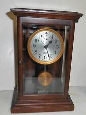 ANTIQUE WOOD CASE POOLE ELECTROMAGNETIC MANTLE CLOCK ITHACA NEW YORK