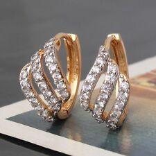 18ct yellow gold filled Topaz crystal hoop earrings White Sapphire diamond