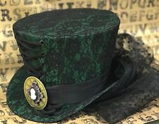 SDL Green/Lace Top Hat With Clock/Cameo Net Black Train &Bows In Size  57cm