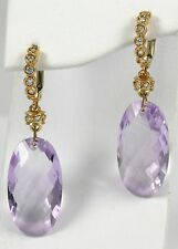 Pink Amethyst Diamond Earrings set in 18k Pink Gold with 0.46ct Diamonds