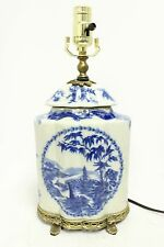 Beautiful Blue and White Porcelain Scallop Shape Jar Table Lamp Ormolu Brass