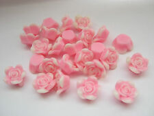 "10 Pink Rose Flower Cabochons Pink Resin Flowers 15mm (5/8"") Jewellery Making"