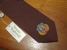 VIVIENNE WESTWOOD Silk Tie Dark Burgundy with Gold/Blue/Red Crest BNWT