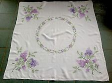Vintage Hand Embroidered Off White Linen Tablecloth 50x51 Inches