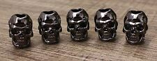 5pcs Double Face S Gun Metal Skull Bead for Paracord Lanyards Bracelets Jewelry
