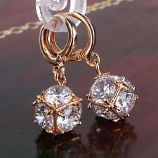 White sapphire 18k gold filled promise wedding&party lady earring