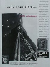 PUBLICITE PHILIPS 630 SUPER INDUCTANCE MICROMETRIQUE TOUR EIFFEL 1933 FRENCH AD