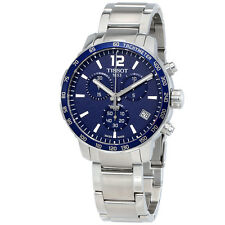 Tissot Quickster Chronograph Blue Dial Stainless Steel Mens Sports Watch
