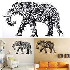 India Elephant Art Removable Vinyl Quote Easy DIY Wall Sticker Decal Mural Black
