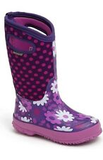 NEW BOGS CLASSIC HIGH FLOWER DOT BIG GIRLS SZ 5 PURPLE PINK RAIN SNOW BOOTS