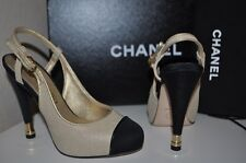 NIB CHANEL Fishnet Mesh & Satin Gold / Black Platform Slingback Pump Shoes 34.5