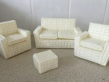 1.12 scale dolls house sofa and 2 chair and foot stool
